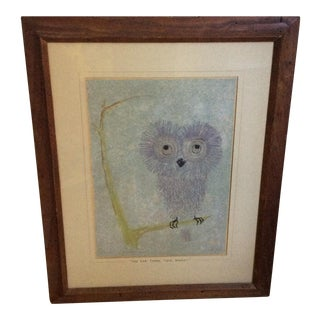 Vintage Owl Drawing For Sale
