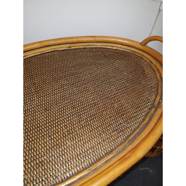 1980s Boho Chic Bamboo or Rattan Tray Top Oval.Table For Sale - Image 4 of 6