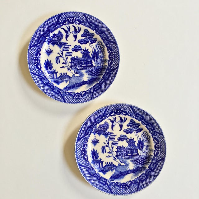 "Asian Antique ""Blue Willow"" Pattern Plates - A Pair For Sale - Image 3 of 6"