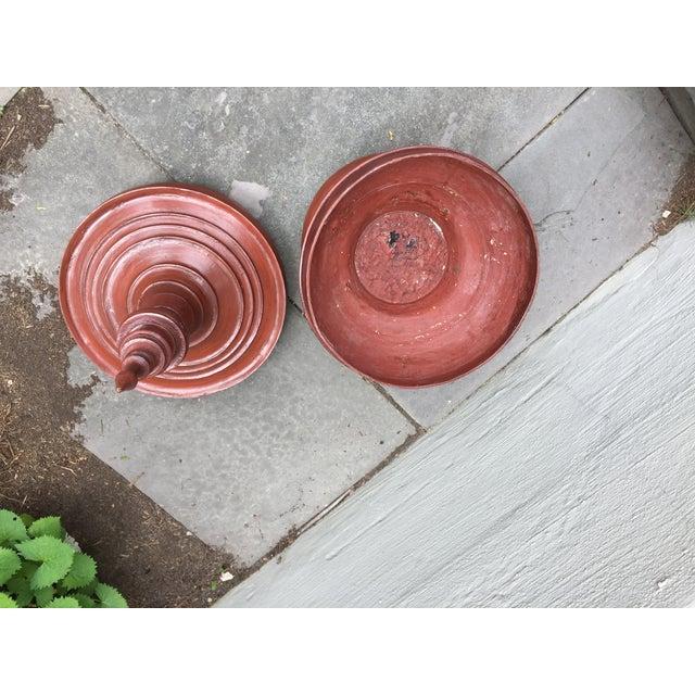 Asian Oversized Burmese Terra Cotta Colored Wood Offering Urn - Image 4 of 8