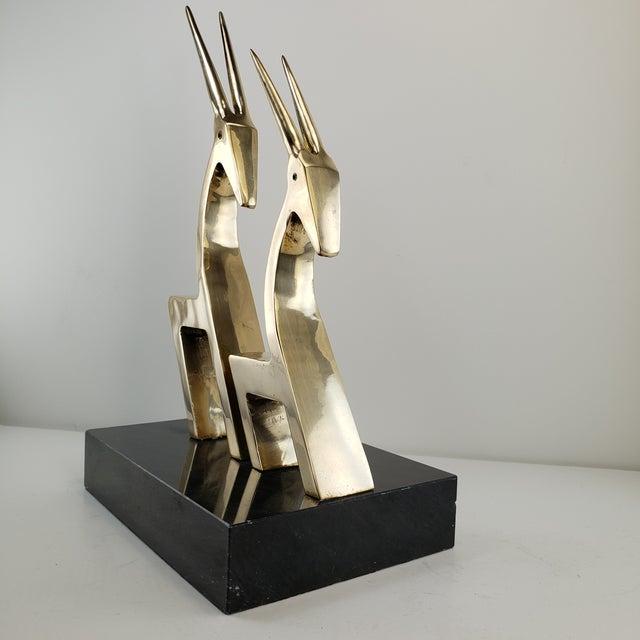 1960s Vintage Brass 2 Gazelle Sculpture Mid Century Modern Table Art For Sale - Image 5 of 12