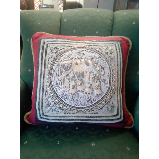 A Set of Vintage Oriental Hand Beaded Pillow With a Royal Elephant. For Sale - Image 4 of 4