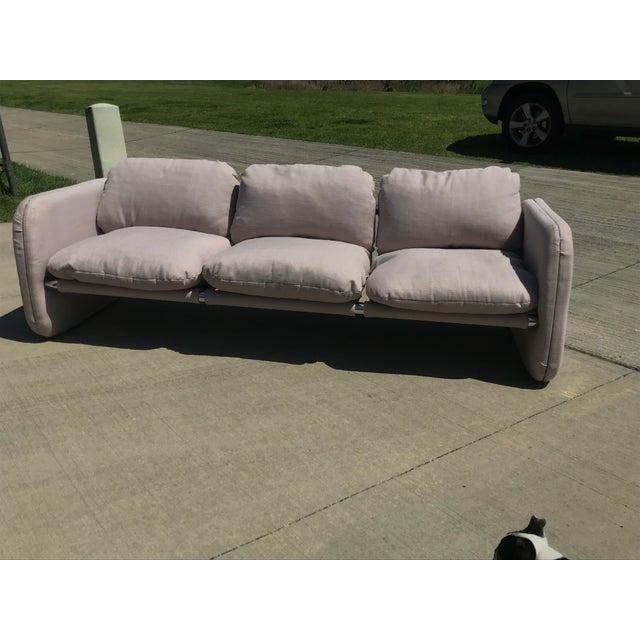 Mid-Century Modern 1980s Vintage Milo Baughman Style Tubular Chrome Sling Three-Seater Sofa For Sale - Image 3 of 11