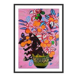 Orange Tree by Jelly Chen in Black Framed Paper, Medium Art Print For Sale