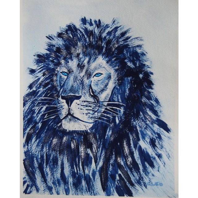 Cleo Plowden Indigo Blue Lion by Cleo Plowden For Sale - Image 4 of 10