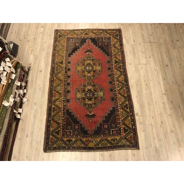 Textile Vintage Oushak Handmade Rug-3′8″ × 6′3″ For Sale - Image 7 of 7