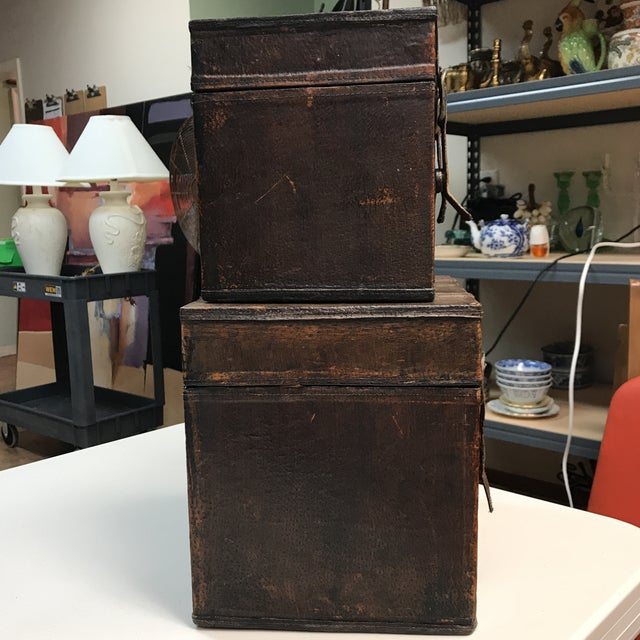 Brown Vintage Leather Storage Boxes - A Pair For Sale - Image 8 of 11