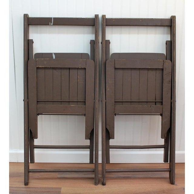 Antique Dark Taupe Painted Folding Chairs - Pair - Image 5 of 8
