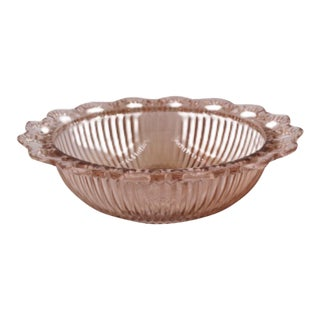 Anchor Hocking Old Colony Pink Open Lace Ribbed Depression Glass Bowl For Sale