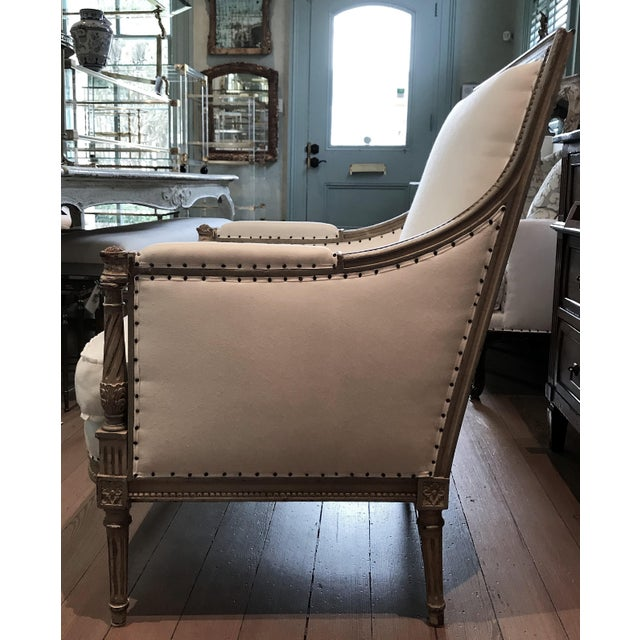 Early 19th Century Pair of Louis XVI Bergeres For Sale - Image 5 of 8