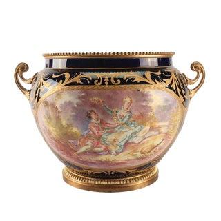 1800s Sevres-Style Cobalt Blue Porcelain & Gilded Bronze Jardiniere For Sale