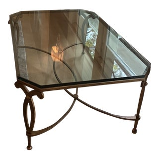 Traditional Glass and Bronze Coffee Table For Sale