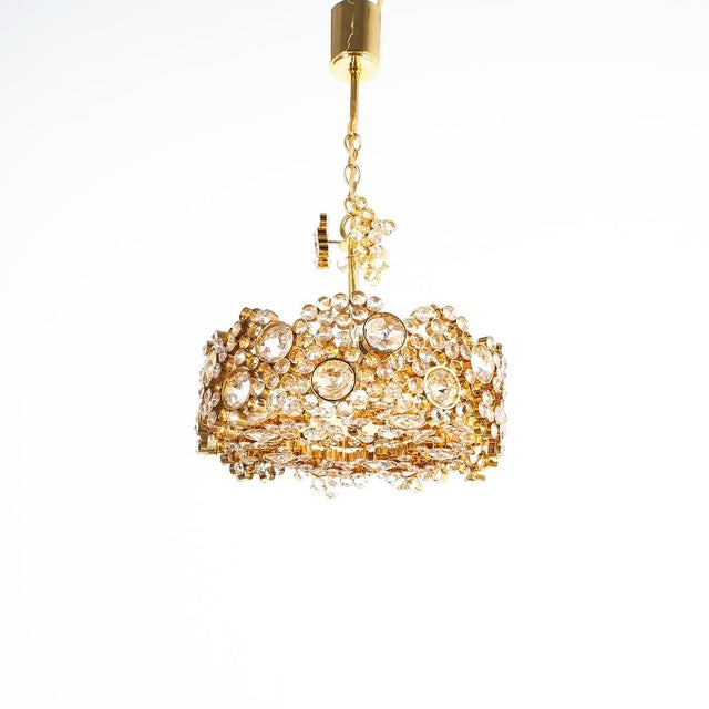 Mid-Century Modern Palwa Crystal Glass Gold-Plated Brass Chandelier Refurbished Lamp For Sale - Image 3 of 12