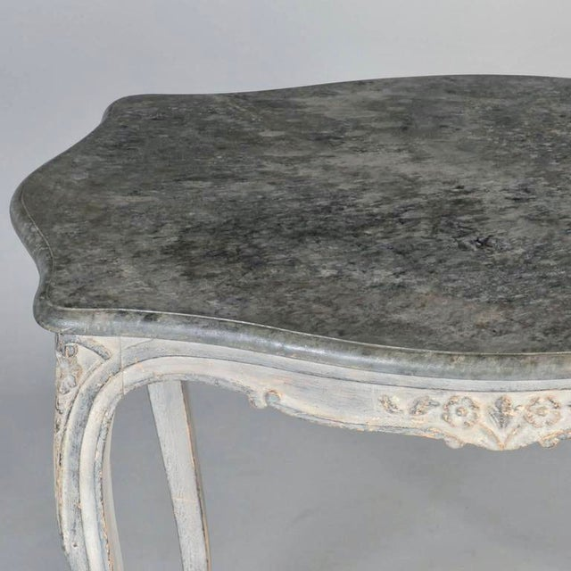 Antique French Painted and Carved Blue Side Table c.1920 - Image 6 of 10
