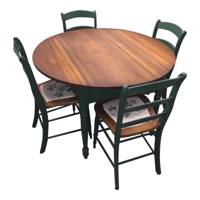 Antique Kitchen Table With Hand Painted Chairs - Set of 5 - Image 1 of 10