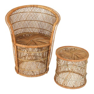 Boho Style Wicker Chair and Table For Sale
