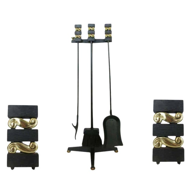1940s Donald Deskey Andirons With Matching Firetool Set - Set of 6 For Sale