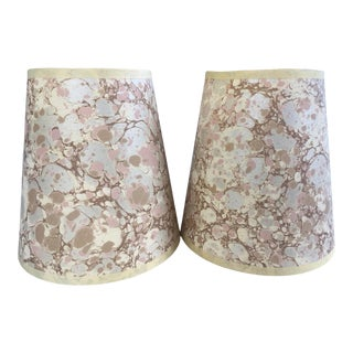 Italian Marbled Paper Lamp Shades in Pink - a Pair For Sale