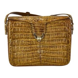 Vintage Tan Authentic Crocodile Skin Shoulder Bag/Purse For Sale