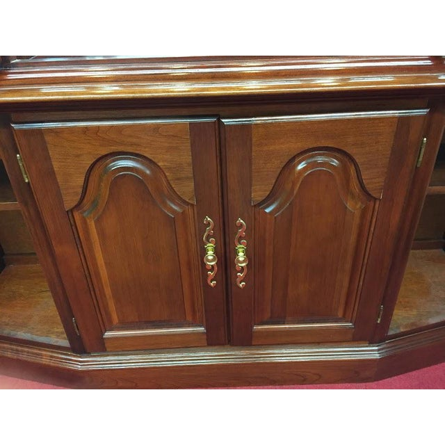 Glass Vintage Colonial Furniture Mirrored Back Lighted China Cabinet For Sale - Image 7 of 8