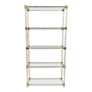 1970s Brass and Lucite Shelves with Glass Top For Sale
