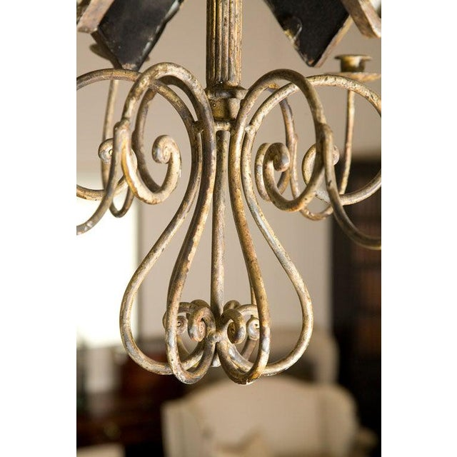 Italian Etched Mirror Panel Hanging Candlestick Chandeliers For Sale - Image 9 of 11