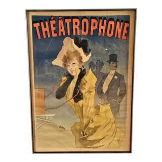 Théâtrophone 1896 Authentic Vintage French Poster For Sale