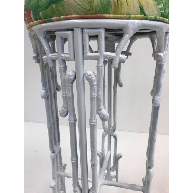 Hollywood Regency Three Hollywood Regency Faux Bamboo Bar Stools For Sale - Image 3 of 5