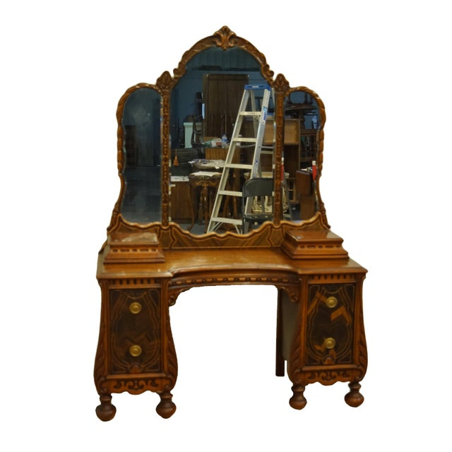 """BASSETT FURNITURE French Regency Style 47"""" Vanity w. Mirror and Jewelry Boxes Together: 66.75"""" High 47.5"""" Wide 18.5"""" Deep..."""
