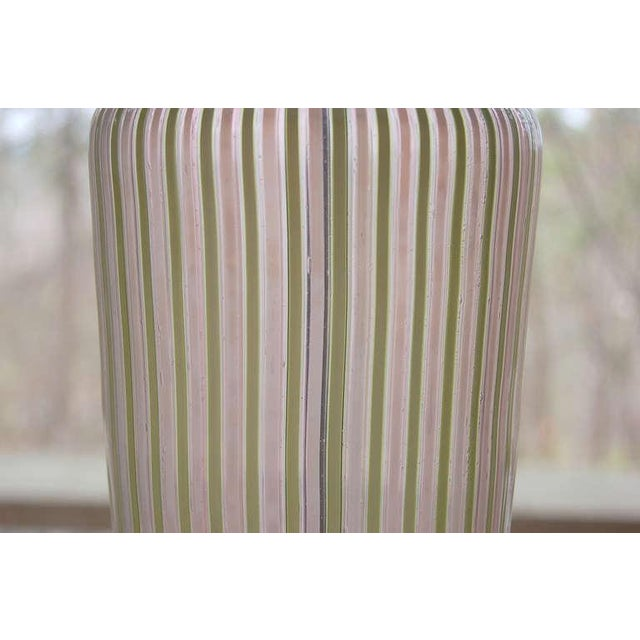Dino Martens Dino Martens Murano Glass Table Lamps Pink Green Stripes For Sale - Image 4 of 8