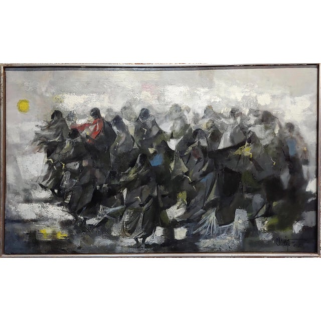 """Juan Ruiz Chamizo -Procession of Nuns - Oil painting c.1965 frame size 37 x 24"""" canvas size 36 x 23"""" oil painting on..."""
