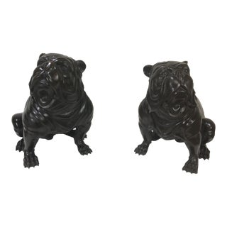 Vintage English Bronze Bull Dogs- a Pair