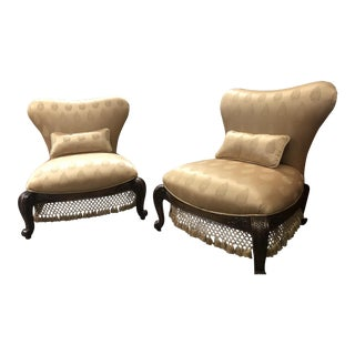 Michael Amini Opulent Sweetheart Back Chairs - a Pair