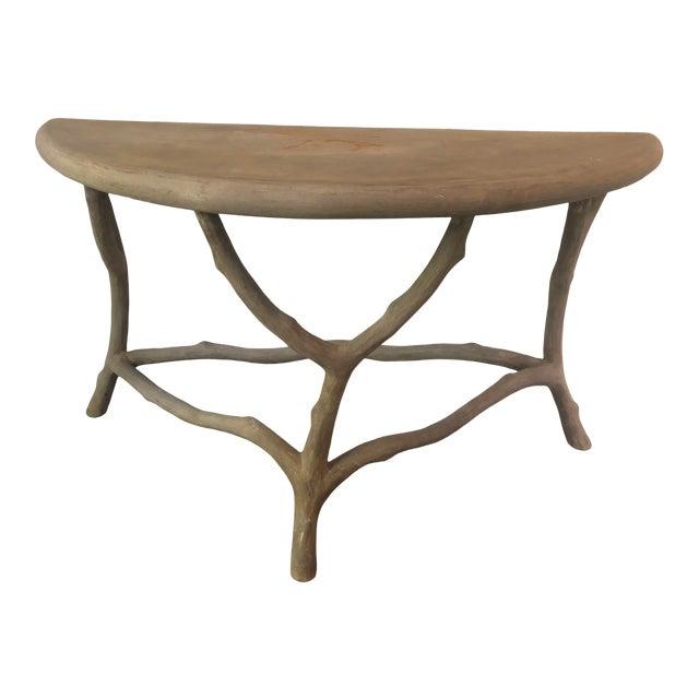 Modern Cast Stone Concrete Faux Bois Demilune Console Table For Sale