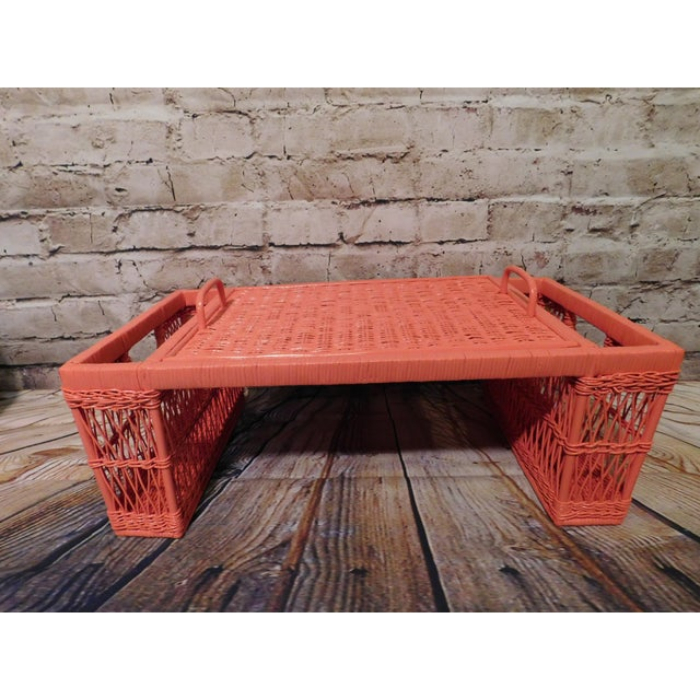 Vintage Coral Painted Wicker Bed Tray - Image 7 of 7