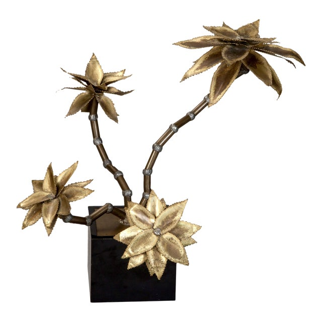 Mid Century Brass Metal Flower Sculpture in Manner of Maison Jansen For Sale