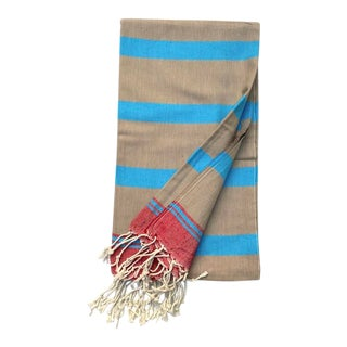 Turkish Tamam Tan/Turquoise/Red Tri-Color Stripe Towel For Sale