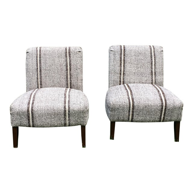 Pair of Upholstered Slipper Chairs For Sale