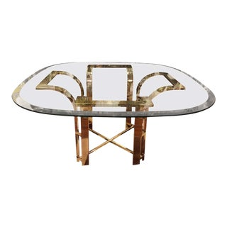 Milo Baughman Style Brass and Glass Coffee Table For Sale