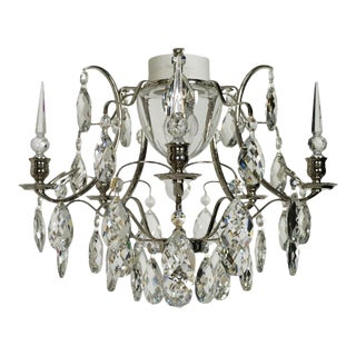 Crystal Shaped Almonds & Spears Chrome Bathroom Chandelier For Sale