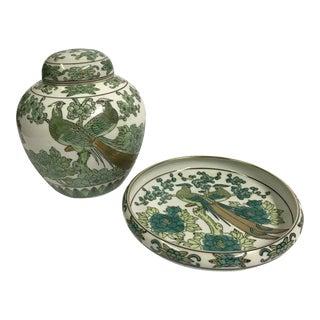 Gold Imari Porcelain Peacock Dish and Ginger Jar For Sale