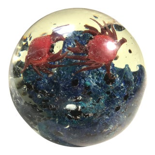 Vintage Crab Scene Murano Glass Paperweight For Sale