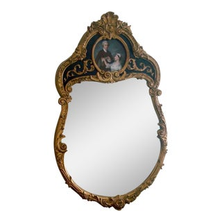 French Style Gold Gilt Wood Hand Painted Wall Mirror For Sale