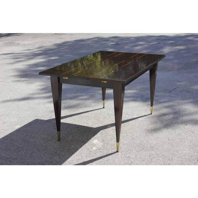 Brass 1940s Art Deco Exotic Macassar Ebony Writing Desk / Dining Table For Sale - Image 7 of 13