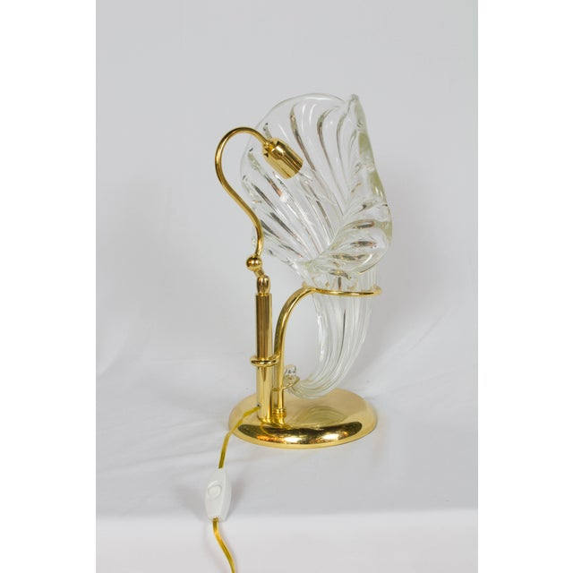 Art Deco Italian Blown Glass and Gold Sculptural Lamp For Sale - Image 3 of 5