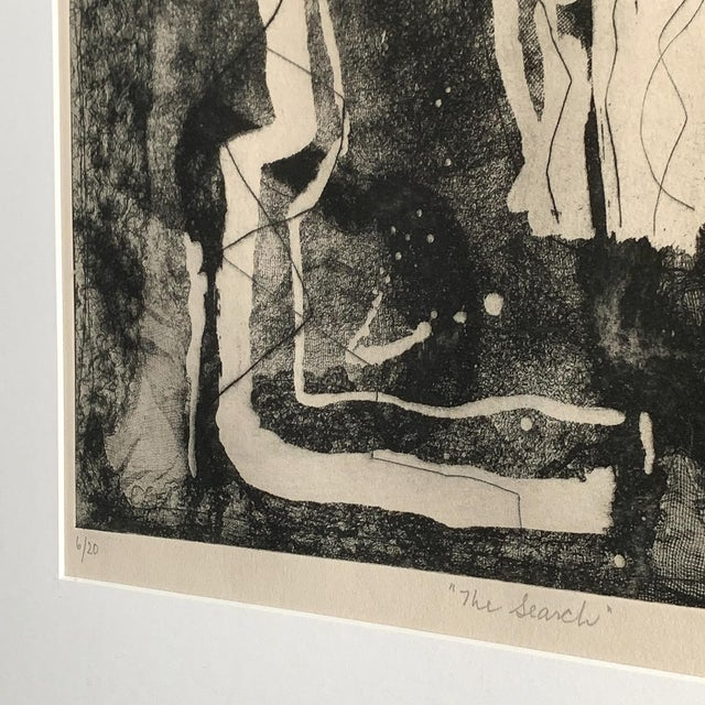 "Aquatint Louise Nevelson Framed Etching ""The Search"", 1953-1955 For Sale - Image 7 of 8"