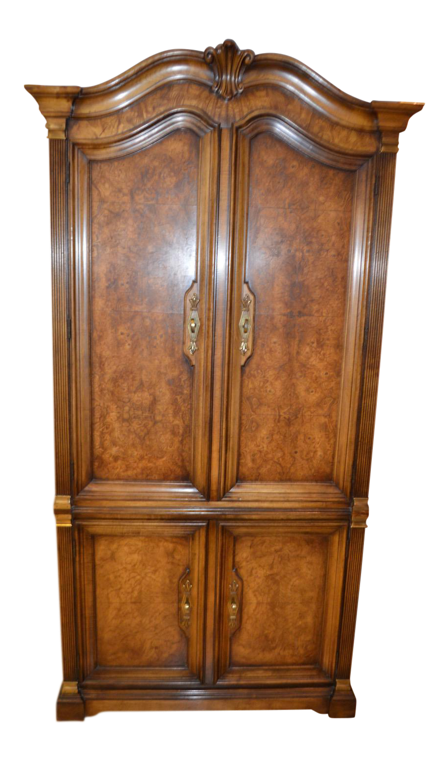 Vintage White Furniture French Country Style Burl Wood Armoire