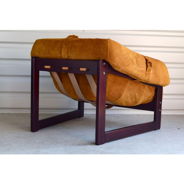 This is a wonderful, super-comfortable and super-groovy rosewood and gold suede set by highly collectible Brazilian...
