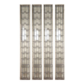 1920s Leaded Glass Prairie Light Screens in Iron Frames - Set of 4