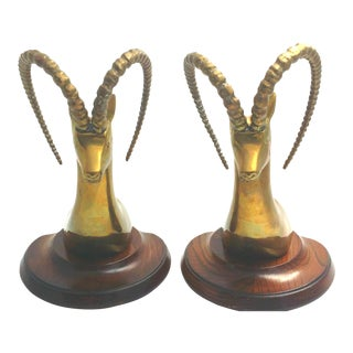 Brass Ibex Deer Bookends - a Pair For Sale